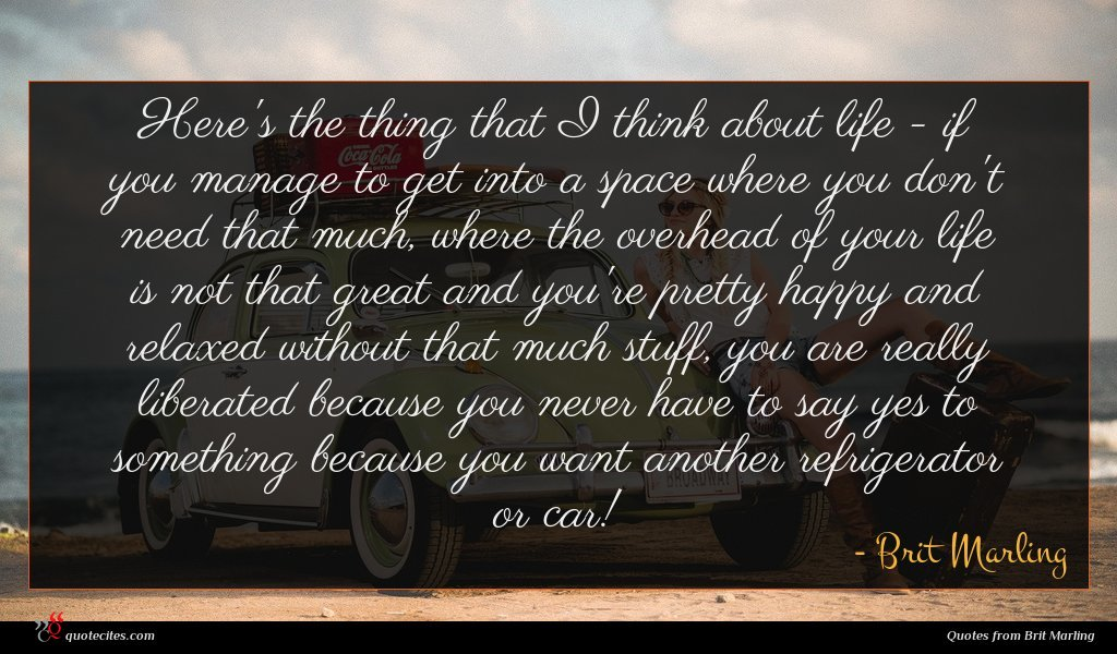 Here's the thing that I think about life - if you manage to get into a space where you don't need that much, where the overhead of your life is not that great and you're pretty happy and relaxed without that much stuff, you are really liberated because you never have to say yes to something because you want another refrigerator or car!