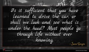 June Singer quote : Is it sufficient that ...