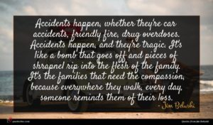 Jim Belushi quote : Accidents happen whether they're ...