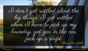Sherry Stringfield quote : I don't get rattled ...
