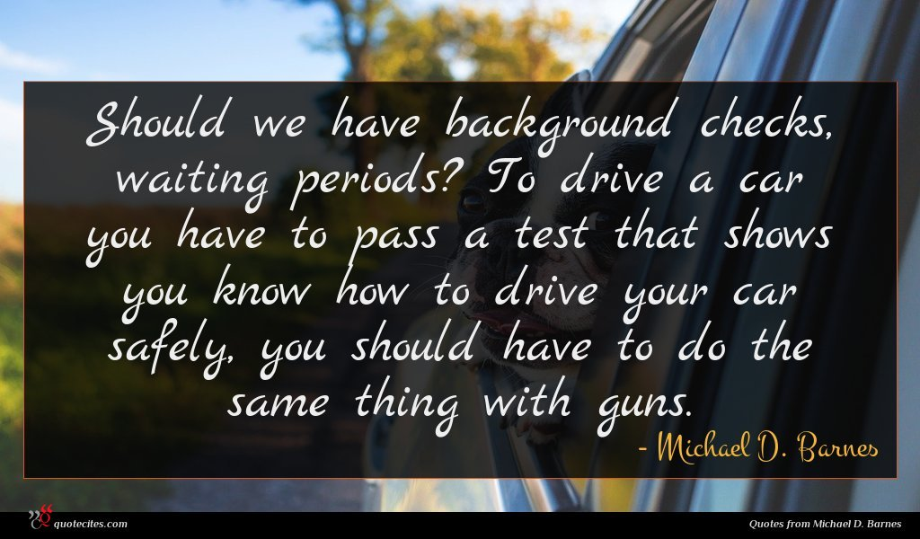 Should we have background checks, waiting periods? To drive a car you have to pass a test that shows you know how to drive your car safely, you should have to do the same thing with guns.