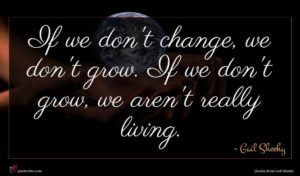 Gail Sheehy quote : If we don't change ...
