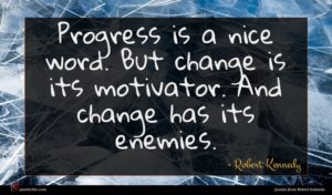 Robert Kennedy quote : Progress is a nice ...