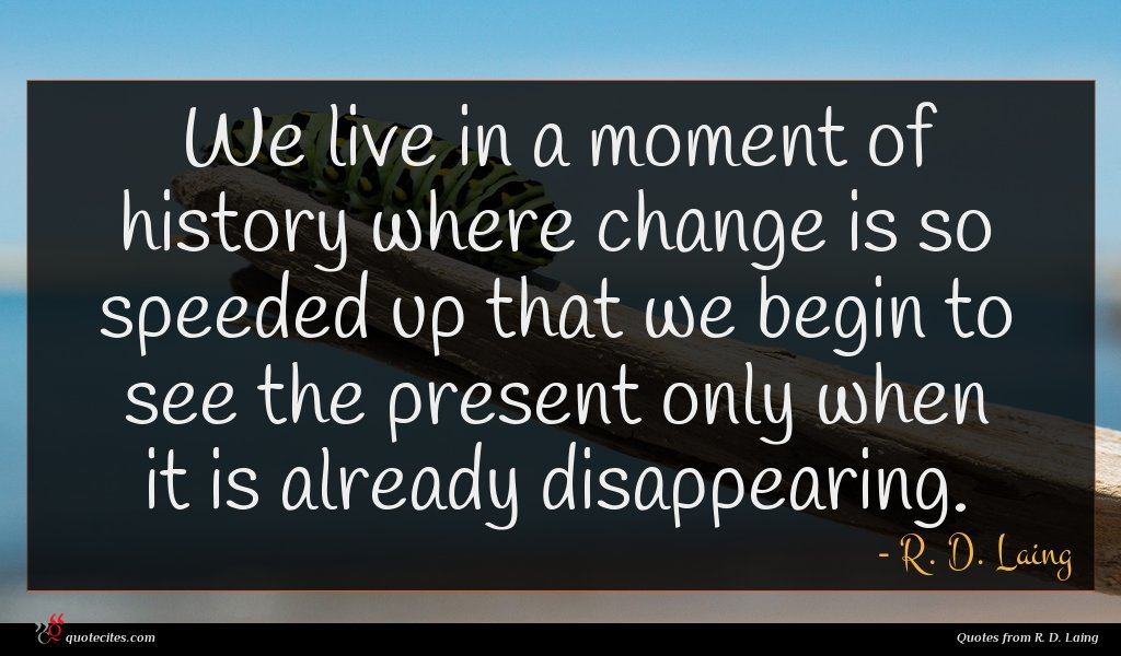 We live in a moment of history where change is so speeded up that we begin to see the present only when it is already disappearing.