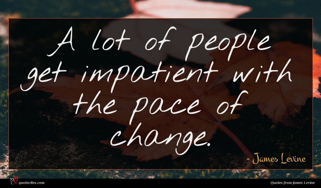 A lot of people get impatient with the pace of change.