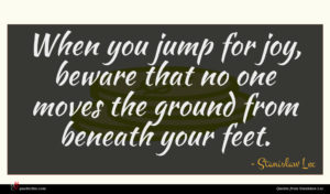 Stanislaw Lec quote : When you jump for ...