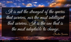 Charles Darwin quote : It is not the ...