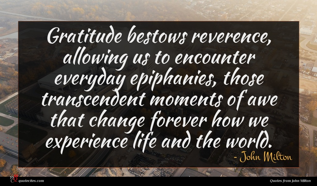 Gratitude bestows reverence, allowing us to encounter everyday epiphanies, those transcendent moments of awe that change forever how we experience life and the world.