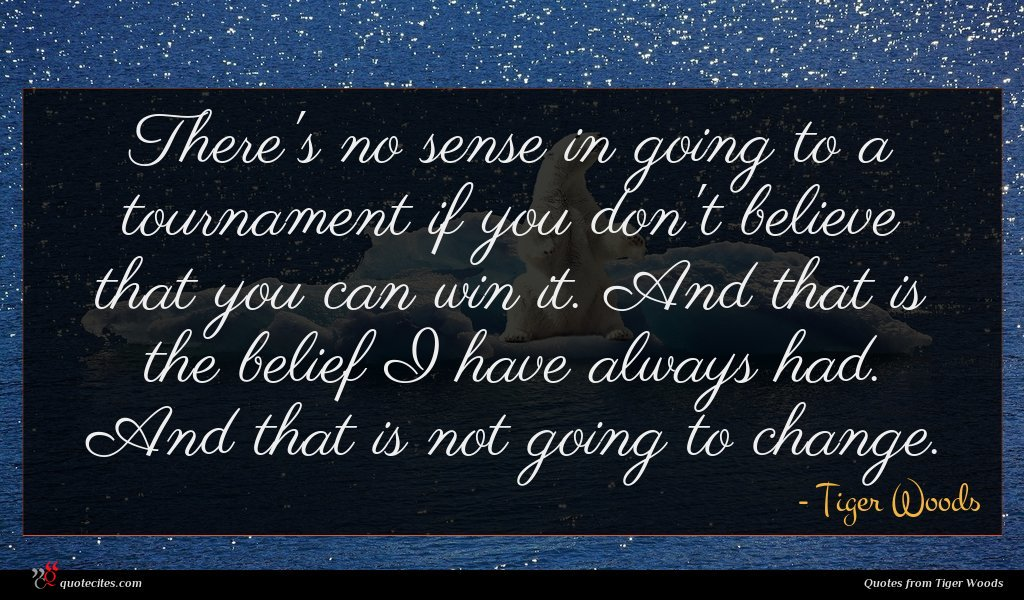 Photo of Tiger Woods quote : There's no sense in …