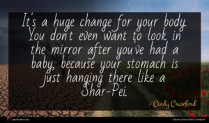 Cindy Crawford quote : It's a huge change ...