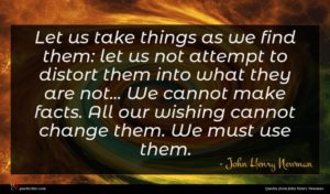 John Henry Newman quote : Let us take things ...