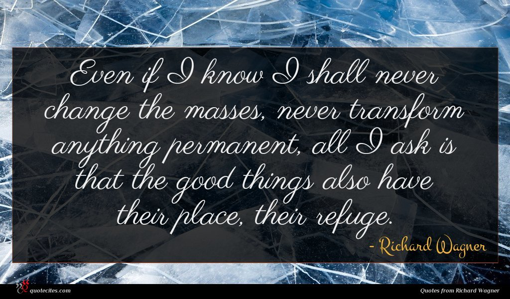 Photo of Richard Wagner quote : Even if I know …