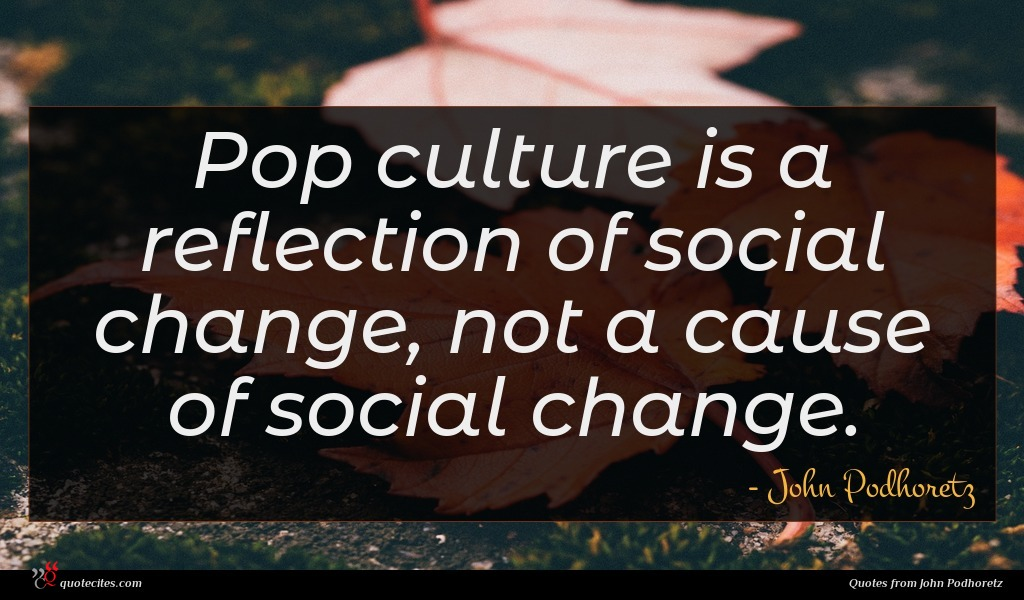 Pop culture is a reflection of social change, not a cause of social change.