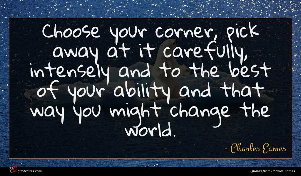 Choose your corner, pick away at it carefully, intensely and to the best of your ability and that way you might change the world.