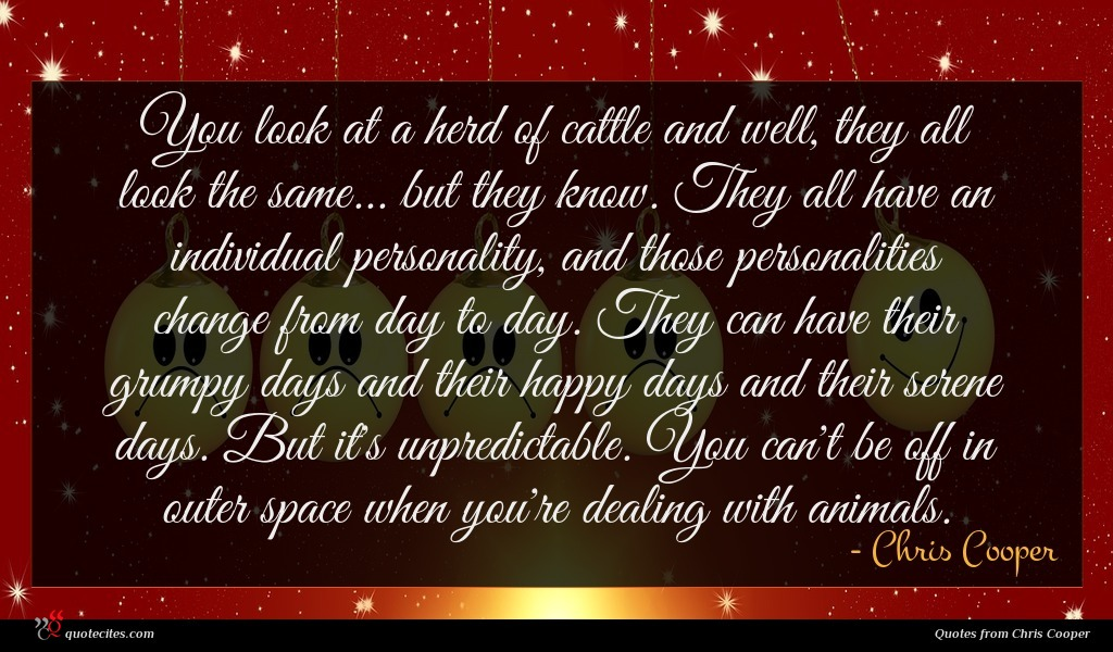 You look at a herd of cattle and well, they all look the same... but they know. They all have an individual personality, and those personalities change from day to day. They can have their grumpy days and their happy days and their serene days. But it's unpredictable. You can't be off in outer space when you're dealing with animals.