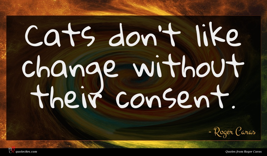 Cats don't like change without their consent.