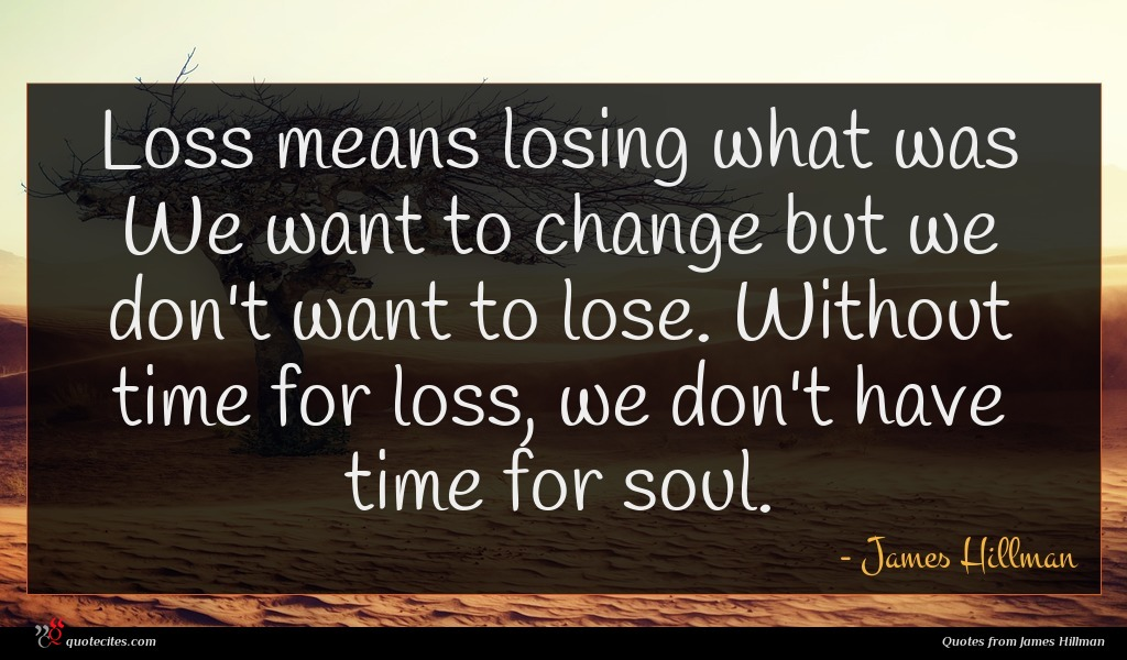 Photo of James Hillman quote : Loss means losing what …
