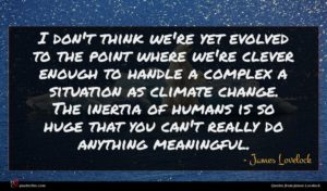 James Lovelock quote : I don't think we're ...