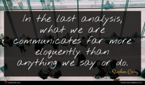 Stephen Covey quote : In the last analysis ...