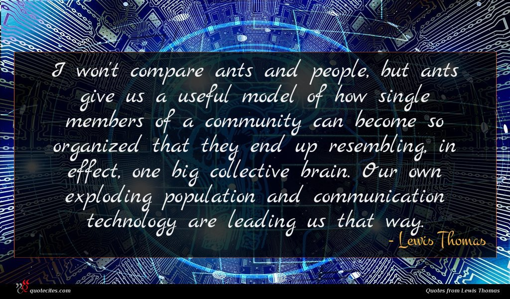 I won't compare ants and people, but ants give us a useful model of how single members of a community can become so organized that they end up resembling, in effect, one big collective brain. Our own exploding population and communication technology are leading us that way.