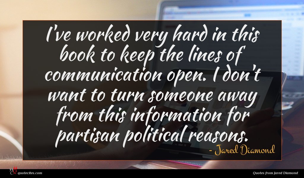 I've worked very hard in this book to keep the lines of communication open. I don't want to turn someone away from this information for partisan political reasons.