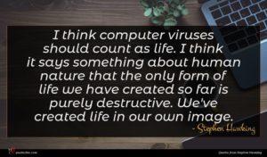 Stephen Hawking quote : I think computer viruses ...