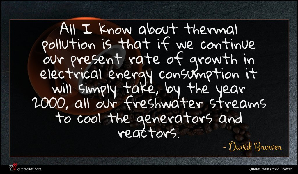 All I know about thermal pollution is that if we continue our present rate of growth in electrical energy consumption it will simply take, by the year 2000, all our freshwater streams to cool the generators and reactors.