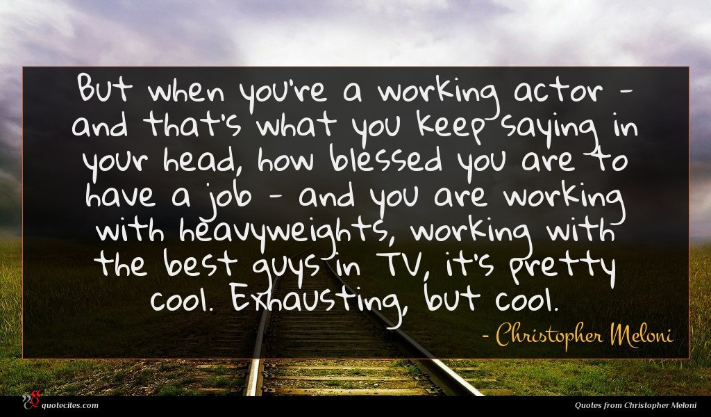 But when you're a working actor - and that's what you keep saying in your head, how blessed you are to have a job - and you are working with heavyweights, working with the best guys in TV, it's pretty cool. Exhausting, but cool.