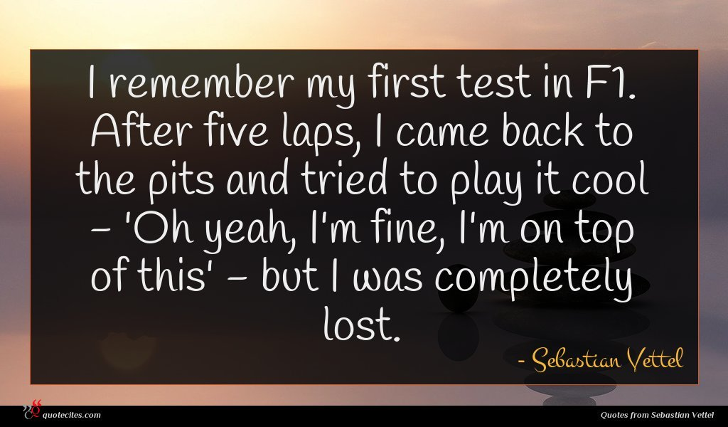 I remember my first test in F1. After five laps, I came back to the pits and tried to play it cool - 'Oh yeah, I'm fine, I'm on top of this' - but I was completely lost.