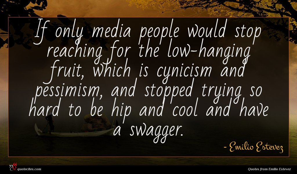 If only media people would stop reaching for the low-hanging fruit, which is cynicism and pessimism, and stopped trying so hard to be hip and cool and have a swagger.
