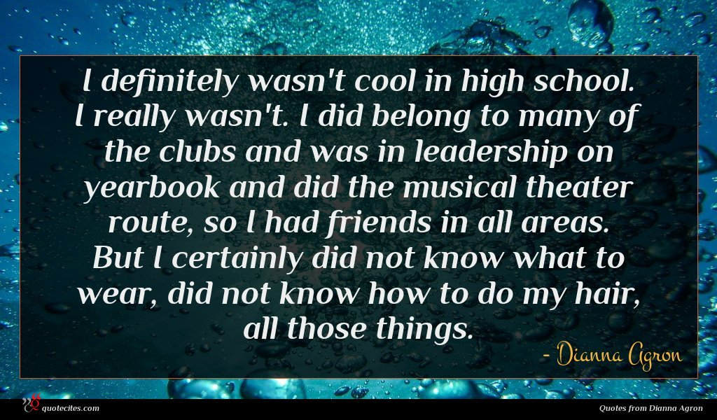 I definitely wasn't cool in high school. I really wasn't. I did belong to many of the clubs and was in leadership on yearbook and did the musical theater route, so I had friends in all areas. But I certainly did not know what to wear, did not know how to do my hair, all those things.