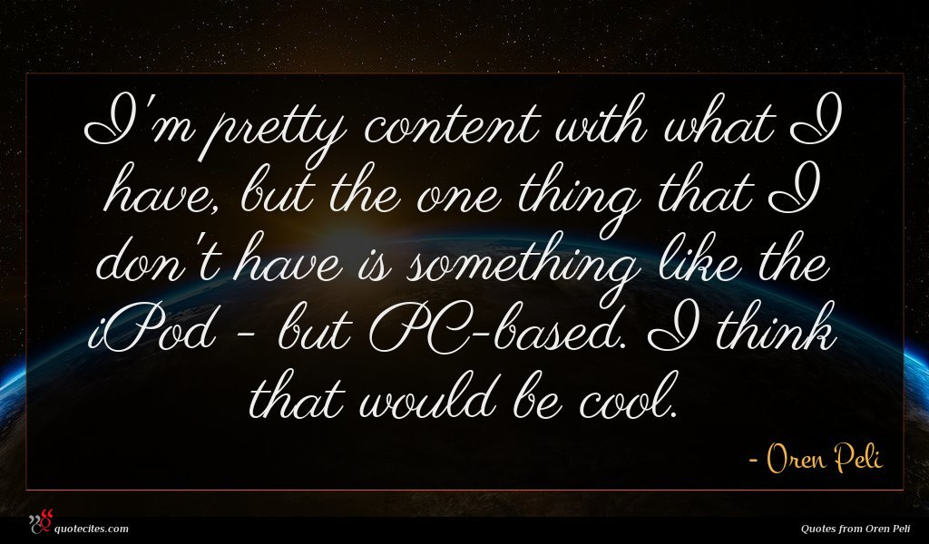 I'm pretty content with what I have, but the one thing that I don't have is something like the iPod - but PC-based. I think that would be cool.