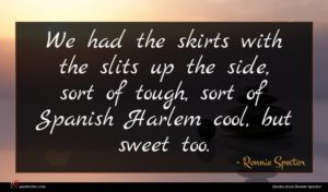 Ronnie Spector quote : We had the skirts ...