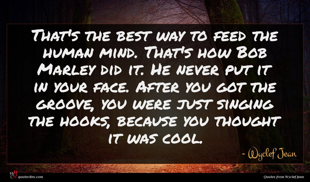 That's the best way to feed the human mind. That's how Bob Marley did it. He never put it in your face. After you got the groove, you were just singing the hooks, because you thought it was cool.