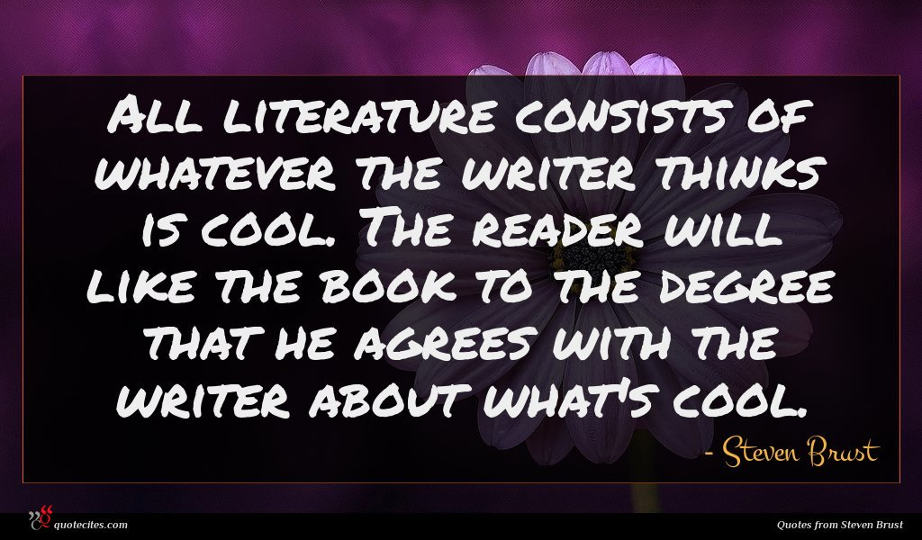 All literature consists of whatever the writer thinks is cool. The reader will like the book to the degree that he agrees with the writer about what's cool.