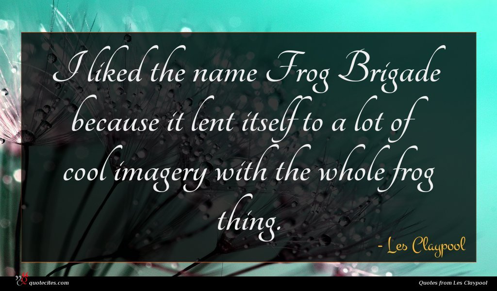 I liked the name Frog Brigade because it lent itself to a lot of cool imagery with the whole frog thing.