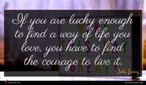 John Irving quote : If you are lucky ...