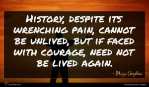 Maya Angelou quote : History despite its wrenching ...