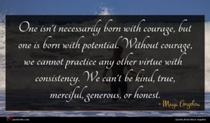 Maya Angelou quote : One isn't necessarily born ...