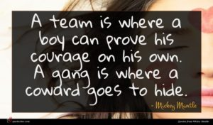 Mickey Mantle quote : A team is where ...