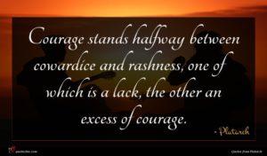 Plutarch quote : Courage stands halfway between ...