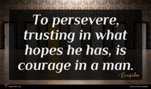 Euripides quote : To persevere trusting in ...