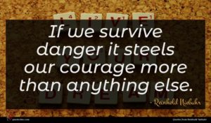 Reinhold Niebuhr quote : If we survive danger ...