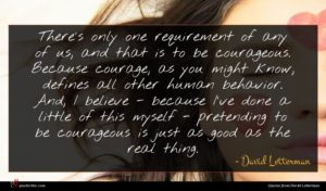 David Letterman quote : There's only one requirement ...
