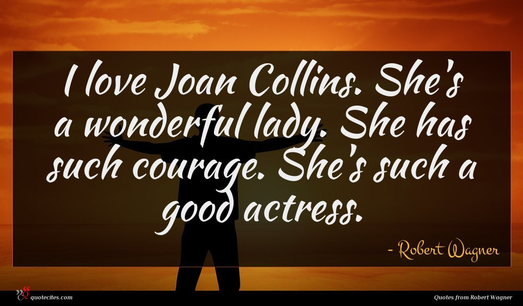 I love Joan Collins. She's a wonderful lady. She has such courage. She's such a good actress.