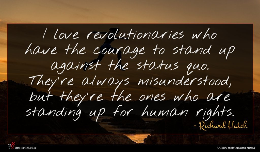 I love revolutionaries who have the courage to stand up against the status quo. They're always misunderstood, but they're the ones who are standing up for human rights.