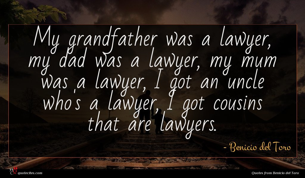 My grandfather was a lawyer, my dad was a lawyer, my mum was a lawyer, I got an uncle who's a lawyer, I got cousins that are lawyers.
