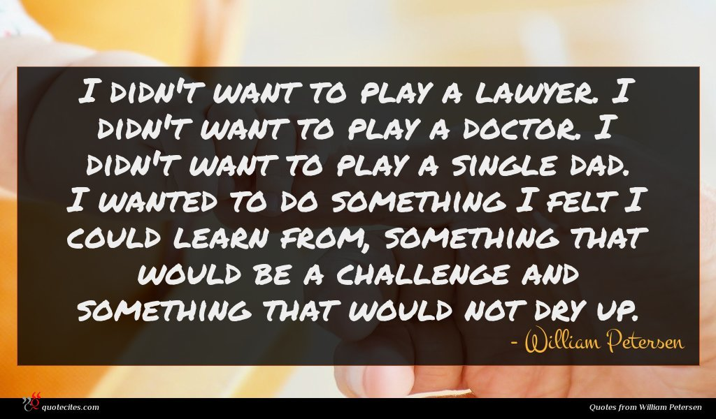 I didn't want to play a lawyer. I didn't want to play a doctor. I didn't want to play a single dad. I wanted to do something I felt I could learn from, something that would be a challenge and something that would not dry up.