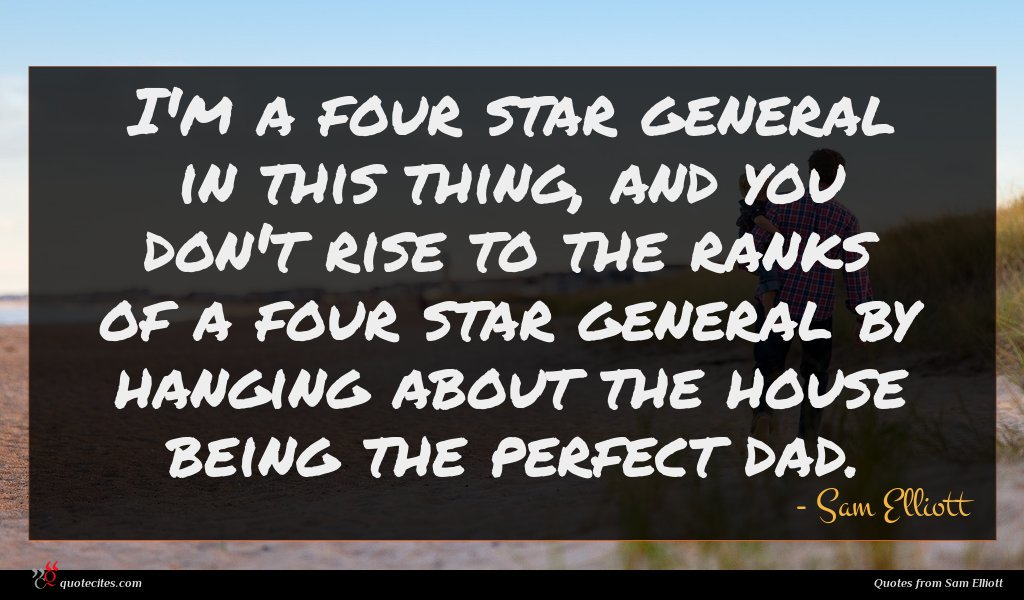 I'm a four star general in this thing, and you don't rise to the ranks of a four star general by hanging about the house being the perfect dad.