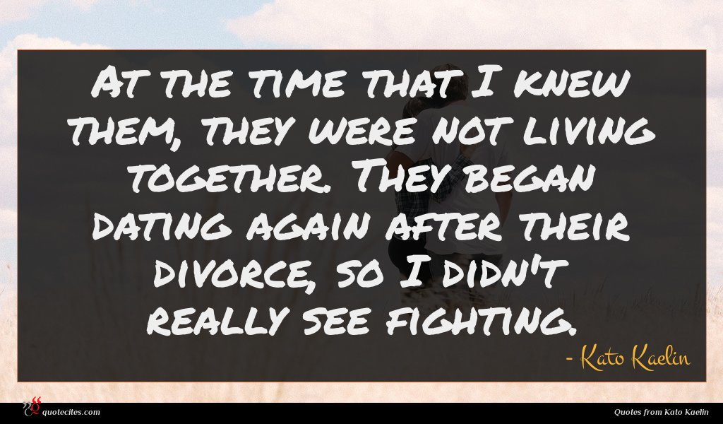 At the time that I knew them, they were not living together. They began dating again after their divorce, so I didn't really see fighting.